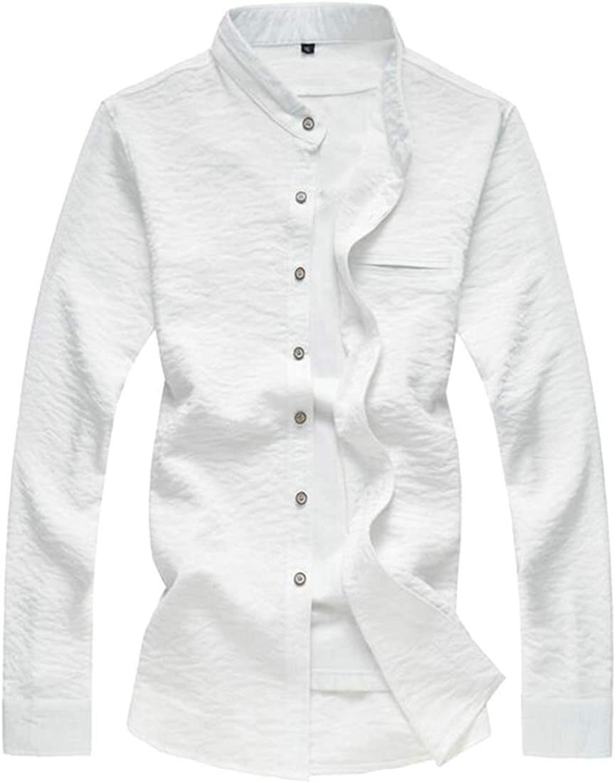 HTOOHTOOH Mens Classic Shirts Long Sleeve Slim Casual Banded Collar Button Down Shirts