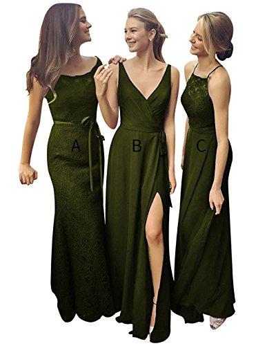 Lace Long Dresses Women Evening Dreagel for C Dress Olive Prom Elegant Bridesmaid qZnIt