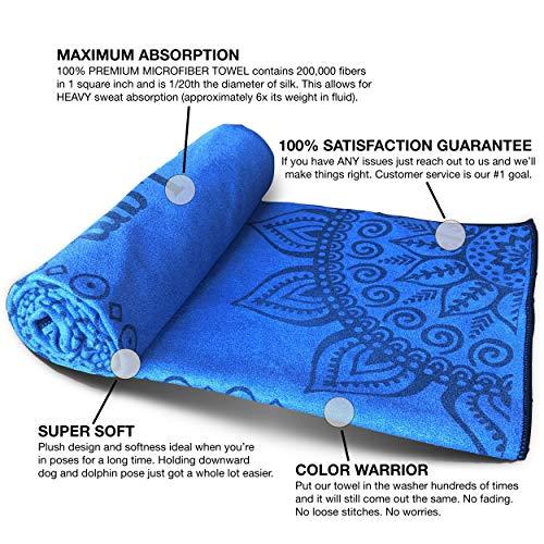 Beautifully Designed Mantra Yoga Towels For Hot Yoga Non Slip, Bikram Yoga,  Hatha Hot Yoga Mat Towel Cover With Non Skid Super Grip Slipless Corner