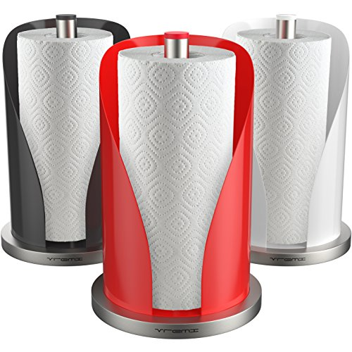Vremi Non Slip Base and Perfect Tear Vertical Paper Towel Holder for Kitchen Countertop, Red ()