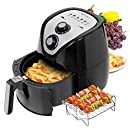 Secura 1500 Watt Large Capacity 3.2-Liter, 3.4 QT, Electric Hot Air Fryer and additional accessories; Recipes,BBQ rack and Skewers
