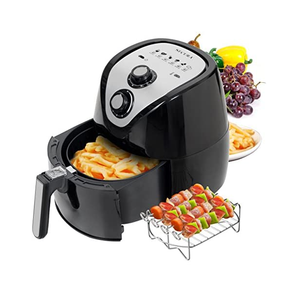 Secura Electric Hot Air Fryer Extra Large Capacity Air Fryer and additional accessories; Recipes and skewers accessory set 51ZqV6plbAL