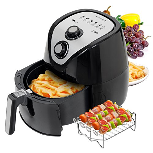 (Secura 1500W Large Capacity 3.2-Liter, 3.4 QT, Electric Hot Air Fryer & Additional Accessories; Recipes, BBQ Rack & Skewers)