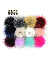 Pack of 12 Faux Raccoon Fur 5.1INCH Pompom Balls with Press Button for Beanie Hat