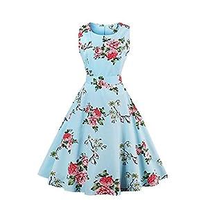 Crissiste Women Vintage 1950's Floral Hepburn Style Garden Party Swing Dress 5-blue-2X-Large