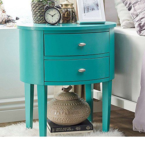 ModHaus Living Modern Style Wood Accent Nightstand End Sofa Table Console Oval Shaped with 2.