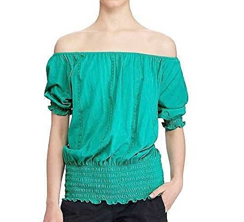 Lauren Cotton Blouse (RALPH LAUREN Lauren Women's Smocked Off-The-Shoulder Top (Tropic Turquoise, Medium))