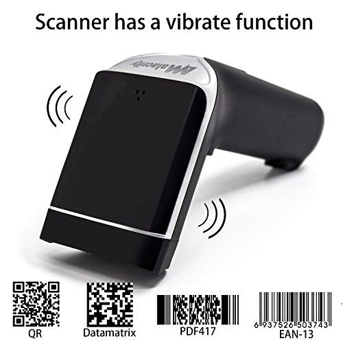 2D Barcode Scanner,alacrity Wireless USB Portable Bar Code Scanner with Vibration Alert 32-bit Processor