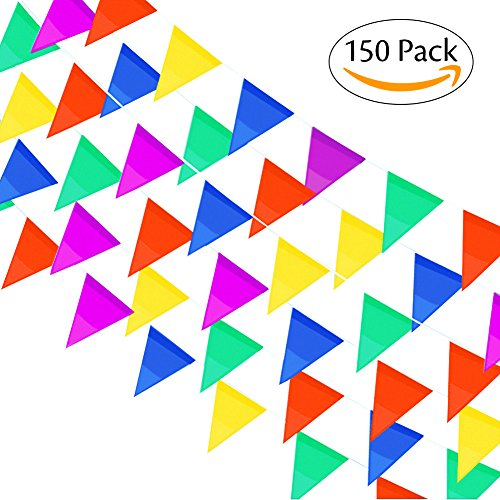 Hibery 150 Pack Multicolor Pennant Banner Flags, Triangle Fabric Flags Decorations for Party, Birthdays, Festivals, Christmas Decorations, 262 Ft (Pennant Flags)