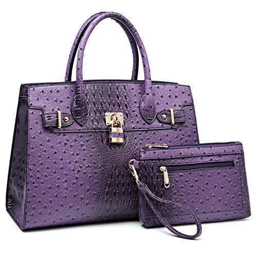 Women Ostrich Purses and Handbags Ladies Large Tote Shoulder Bags Top handle Satchel with Pouch 2pcs (Purple)