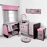 Bacati Elephants Pink/Grey 10 Piece Crib Set including Bumper Pad