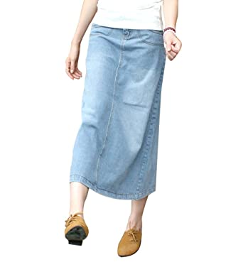 c11c0116328 NiSeng Femme Denim Jupe Élégante A-Line Jupe Mode Comfy Long Denim Jupe  Casual Denim