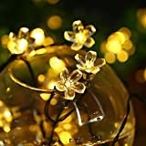 Solar String Lights, Vacio Waterproof 50 LEDs Outdoor Peach Flower Lights Indoor String Lamp, Decorative Lights for Christmas Xmas Festival Party Decorations-Warm White