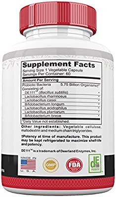 Probiotic for Men and Women, Ultra Potent Clinically Proven Non GMO Formula, 60 Day Supply, 5.75 Billion CFU, Probiotics Support Immune and Digestive Systems, Cognitive Function and More!