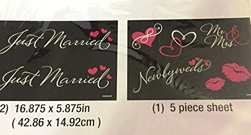 (Just Married, Mr.& Mrs, Newlyweds, Car and Window Clings Set of 8 pcs)