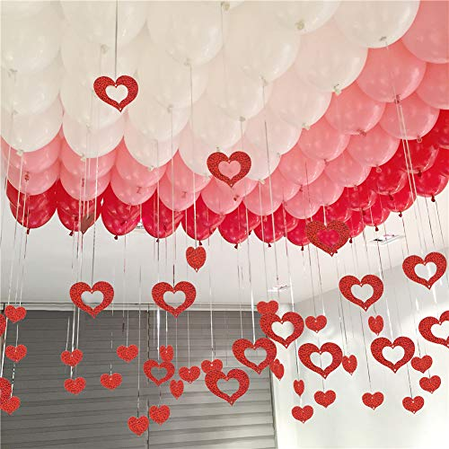 "UTOPP 100 Pack Red Pink White Balloons Kit, Wedding Decorations, 12"" Assorted Colors Balloons with Foil Red Heart Shape Hanging String for Confession Galentines Anniversary Wedding Engagement"