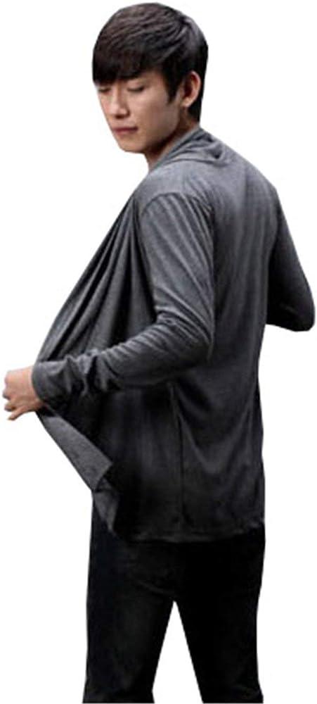 Cárdigan De Color Sólido para Camisas Abierta De Larga Manga Hombre Hombres Vintage Hombres Suéter Cárdigan De Corte Slim Abrigo De Punto Casual Abrigo De Otoño (Color : Grau, Size : M):