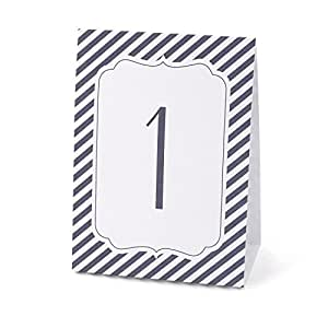 Hortense B. Hewitt Wedding Accessories Navy Stripe Table Tents, Numbers 1 to 40, Navy/White