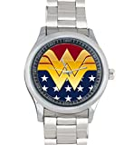 Dude Custom wonder woman Men's Stainless Steel Watch Sliver Metal