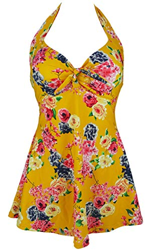 COCOSHIP Mustard Yellow & Pink Bold Bloom Floral Retro Sailor Pin Up Swimsuit One Piece Skirtini Cover Up Cruise Swimwear S