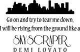 Skyscraper Lyrics Demi Lovato Vinyl Wall Quote Decal Sticker, 23 inch Black