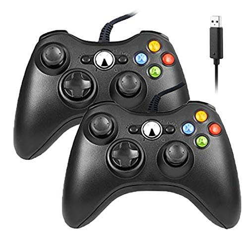 Reiso Xbox 360 Controller, 7.2 ft USB Wired Controller Gamepad Compatible with Microsoft Xbox 360 & Slim 360 PC Windows 7(Black 2 Packs) (Xbox 360 Controller Driver)