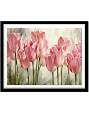 Cross Stitch Kits Stamped Embroidery-Pink Tulip Flower-Adult Beginners Starter Kits -DIY Cross Stitch Needlework Full Range of Printed Pattern Crafts Home Decor Gift 14CT (16x20 inches)