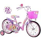 アイデス (ides) プリンセス 18インチ ブリリアント Disney princess 子ども用 キッズ 自転車 幼児車 補助車 カゴ ミラーベル スポークアクセサリー付き pink キラキラ ピンク 18インチ