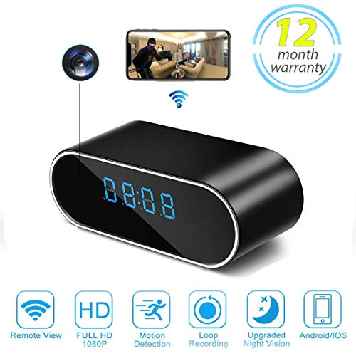 Spy Camera Clock,Hidden Camera Clock Wireless WiFi APP Control Surveillance Nanny Cam with Night Vision/Motion Detection for Home Security