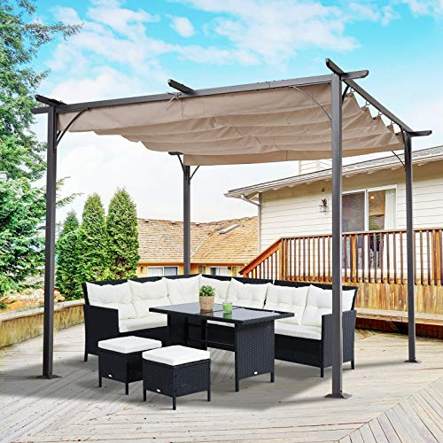 ANA Store Beige Open-Close Sliding Crimp Canopy 10' Modern Sunshade Stable Construction Black Iron Body Retractile Cover Pergola
