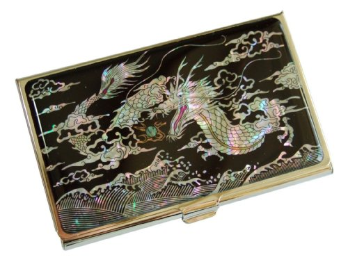 Business Card case holder for your pocket with mother of pearl dragon design