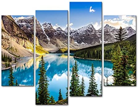 My Easy Art 4 Pieces Modern Canvas Painting Wall Art The Picture For Home Decoration Beautiful Sunset View Of Morain Lake And Mountain Range Alberta