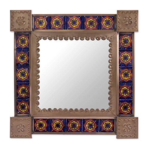 NOVICA Tin Colonial Ceramic Wall Mounted Mirror, Blue and Brown, Reflections And Flowers' (Flower Tin Mirror)