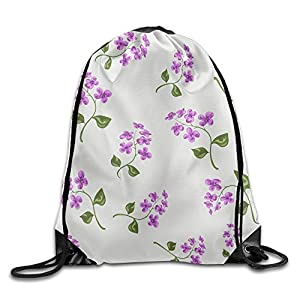 Skkoka Men&Women Beautiful Bright Floral Seamless Pattern With Forget Me Not On Beige Background Durable Gym Drawstring Backpack,Drawstring Backpack,Backpack,Drawstring Pocket Canvas,Bag Org
