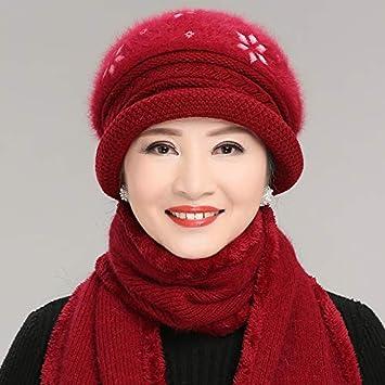 LybHat Sombrero de Invierno para Mujer de Mediana Edad Gorro de ...