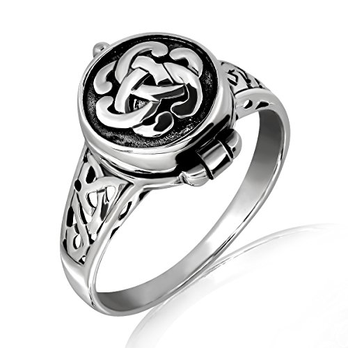 WithLoveSilver 925 Sterling Silver Round Irish Celtic Knot Poison Locket Ring (10)