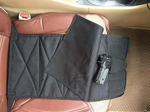 LIVIQILY Under The Seat Concealment Pistol Holster with Pieces Pouch for Medium Large Adjustable Guns for Most Cars Trucks Vans