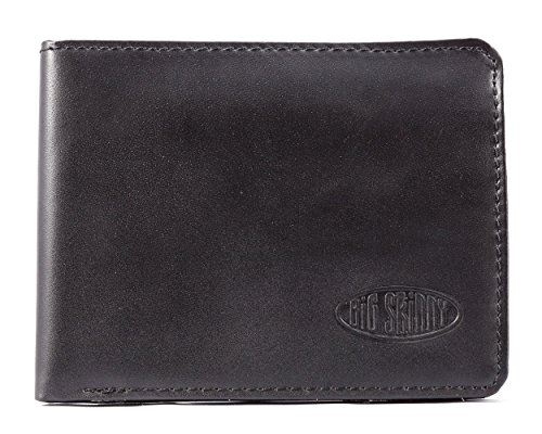 Big Skinny RFID Blocking Passcase Leather Slim Wallet, Holds Up to 30 Cards, Black -