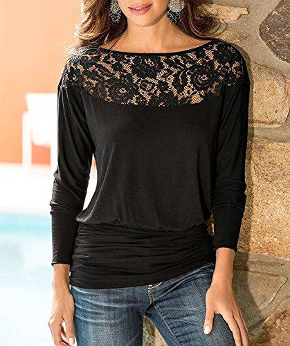taille grande T Blouse Noir FR Manches longues Femme dentelle 3XL Casual Tops lache Shirt S Jusfitsu xaCqHpWvP