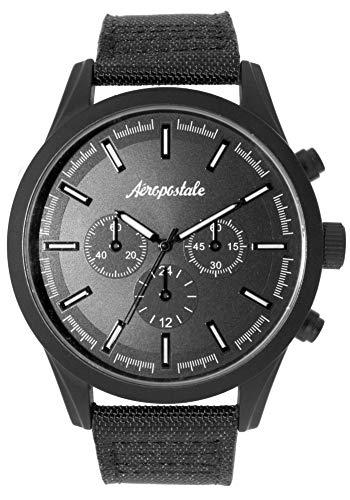 Aéropostale Men's Quartz Watch - Black Canvas Strap - Black on Black Watch from Aéropostale
