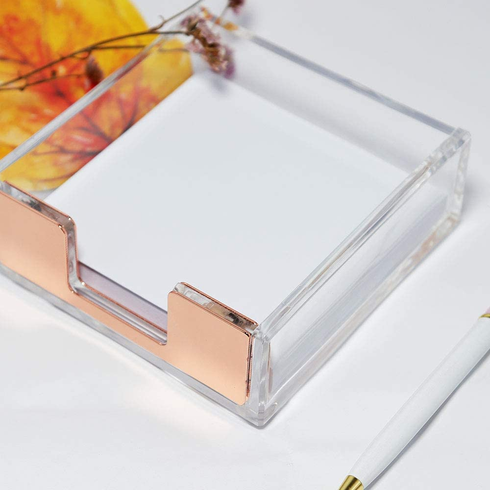 Gold MultiBey Sticky Notes Memo Pad Holder Dispenser Rose Gold with Clear Desk Supplies Organizer Accessories for Office Home Schools