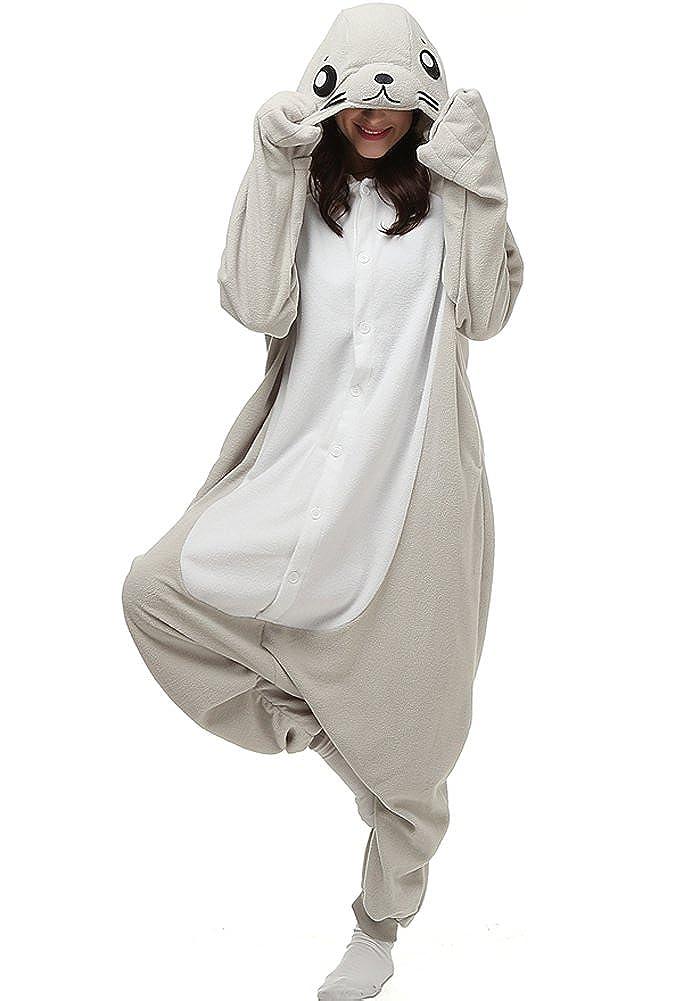 ZDUND Women and Men Plush Adult Animal Seal Hood Onesie Pajama Dona