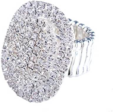 Santfe Women Adorable Crystal Rhinestones Oval Design Stretch Fashion Ring Shinning Silver Plated