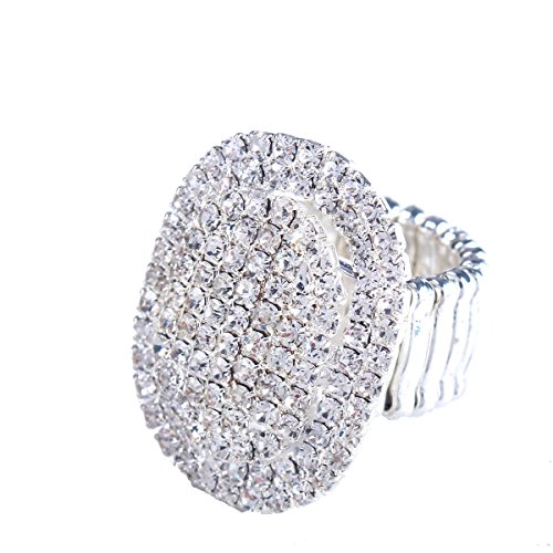 Santfe Women Adorable Crystal Rhinestones Oval Design Stretch Fashion Ring Shinning Silver Plated (style 1) -
