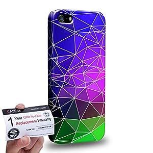 Case88 [Apple iPhone SE] 3D impresa Carcasa/Funda dura para & Tarjeta de garantía - Art Fashion Mauve with Cobalt green Geometric Kaleidoscope