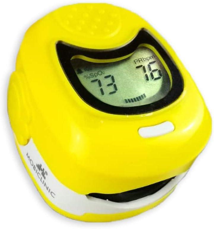 Pulsioxímetro de dedo pediátrico, Pantalla LCD, Frecuencia cardiaca y gráfico de barras, PX-03, Mobiclinic
