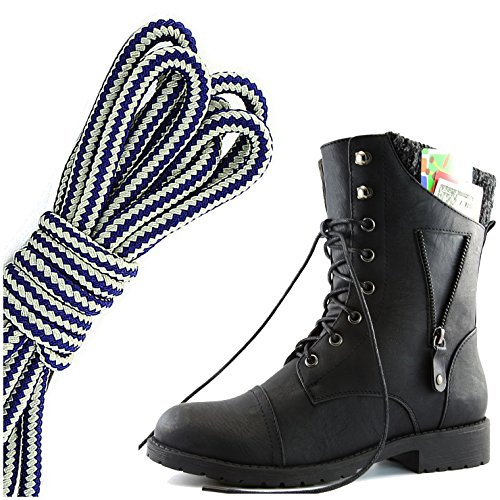 DailyShoes Womens Military Lace Up Buckle Combat Boots Zipper Sweater Ankle High Exclusive Credit Card Pocket, Navy Blue White, Black PU, 5 2A(N) US