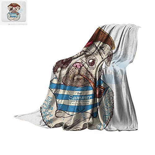 Luoiaax Pug Throw Blanket Pirate Pug Conqueror of The Seas Pipe Skulls and Bones Hat Striped Sleeveless T-Shirt Print Artwork Image 60