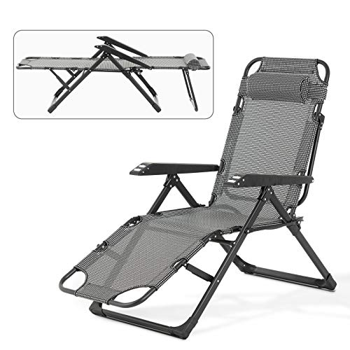 Mecor Lounge Chairs Folding Bed Adjustable Recliner Patio Chairs Folding Recliner Outdoor Indoor Yard Beach Plaid-high
