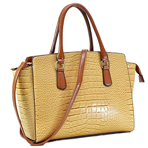 Dasein Women's Designer Wings Satchel Handbag Shoulder Bag Work Briefcase Tote w/ Removable Shoulder Strap (3190 Tan)